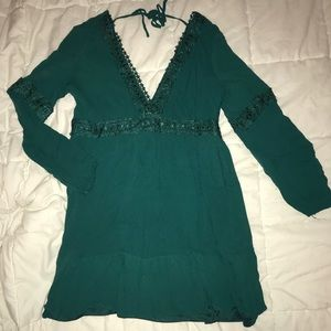 Francesca's Collection Plunge Neck Lace Dress